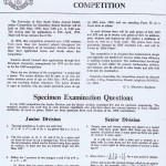 Thumbnail of Flier for the 1970 IBM Mathematics Competition for NSW with sample questions.