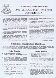 IBM Mathematics Competition Flier for 1970