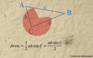 An Illustration of a Labelled Triangle With an Accompanying Statement of the Area Rule