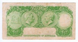 An Australian One Pound Note from the last print run in 1952 (Reverse)