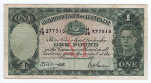An Australian One Pound Note from the print run in 1942 (Obverse)
