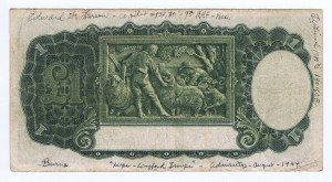 An Australian One Pound Note from the print run in 1942 (Reverse)