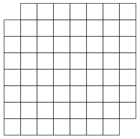 Image of 8 by 8 Grid With Two Opposite Corners Missing