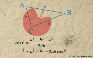 An Illustration of a Labelled Triangle With an Accompanying Statement of the Cosine Rule