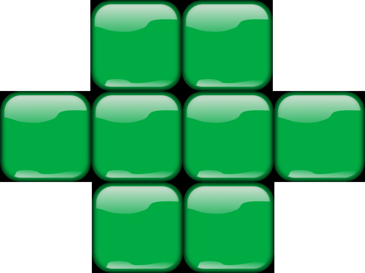 Grid of Eight Congruent Shiny Green Buttons With Four Across the Centre and Two Centred Above and Two Centred Below
