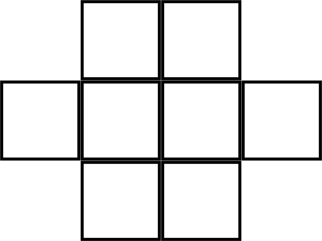 Grid of Eight Congruent Squares With Four Across the Centre and Two Centred Above and Two Centred Below