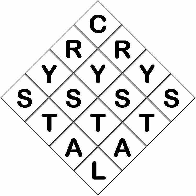 A 4 by 4 grid rotated 45 degrees with the letters of the word Crystal written in sequence from the top box down