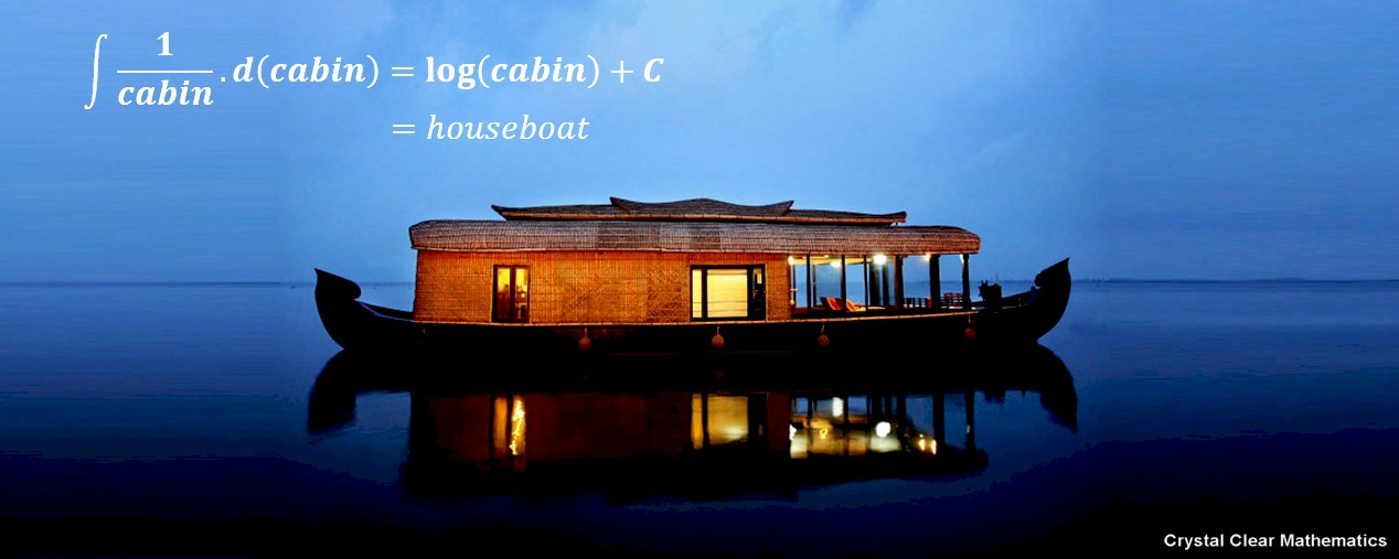 Image of a Houseboat with a Mathematical Pun Superimposed on the Image
