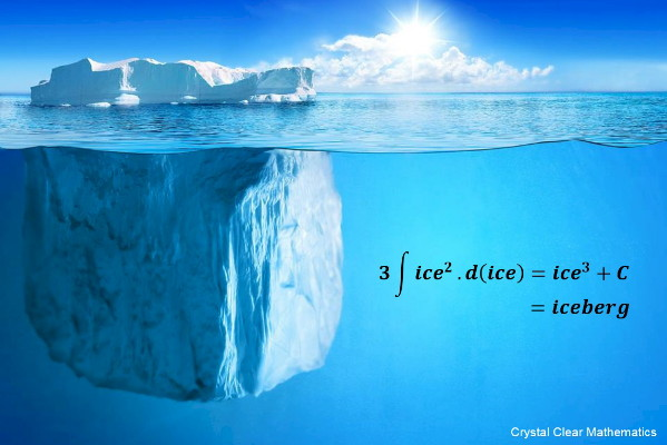Image of an Iceberg with a Mathematical Pun Superimposed on the Image