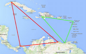 A Map of the Carribean Showing Triangles of Navigation