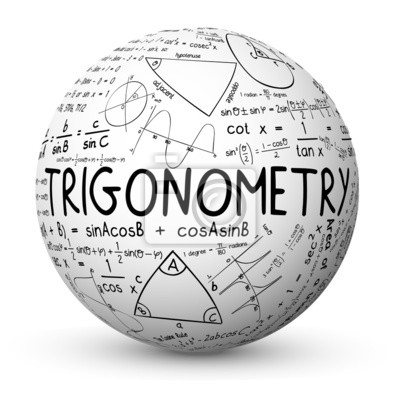 White Sphere Labelled with the Word Trigonometry and All Kinds of Trigonometric Symbols, Graphs and Equations