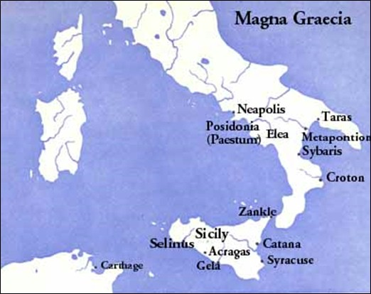 Map of Magna Graecia showing Crotona (where Pythagoras and Milo lived)