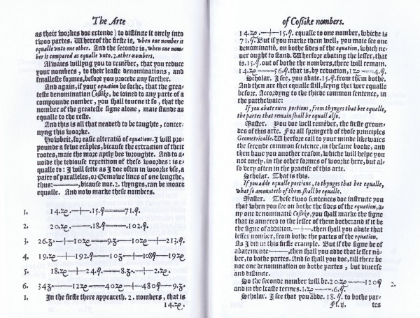 A Scan of a page from Robert Recorde's 1557 book, The Whetstone of Witte, in which he introduces the equals sign