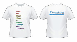 Image of T-Shirt Showing SOH-CAH-TOA on the Front in Rainbow Colours