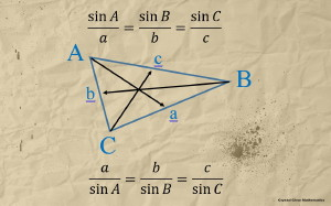 An Illustration of a Labelled Triangle With an Accompanying Statement of the Sine Rule