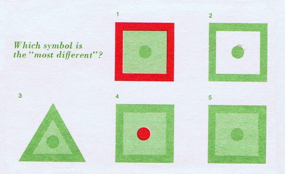 A set of five different shapes based on green and red squares and triangles and asking which one is the MOST different