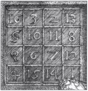 A closeup of the magic square from Albrecht Durer's famous engraving, Melancholia