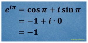 Calculation of e to the i pi showing that it is equal to negative one
