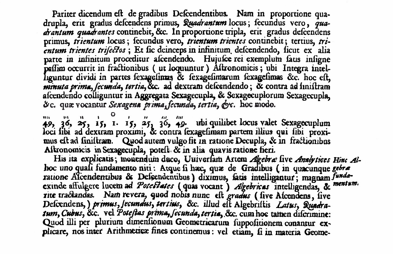 wallis mathesis universalis John wallis and other european scholars adopted this same notation (from the arabic and persian scholars) you can see an example here, from page 53 of wallis' famous 1657 text, mathesis universalis.