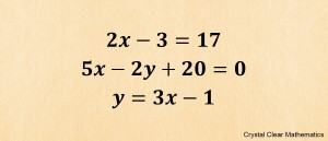 List of three linear equations