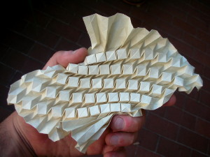 A Raised Cube Array Folded from One Sheet of Paper Demonstrating Andrea Russo's Amazing Folding Skills
