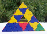 Pyramid Built from Polydrons with Intersecting Tunnels