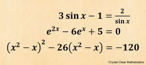 Thumbnail of Poster showing three complex quadratic equations.