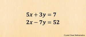 Two Linear Equations in x and y to be Solved Simultaneously