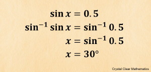 Four lines of work showing how to solve sine x equals zero point five using the inverse sine function