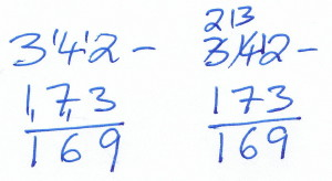 Two Algorithms for Subtracting 173 from 342