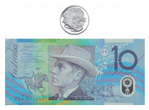 Image of an Australian Ten Dollar Note With a Twenty Cent Piece Above It)