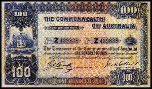 An Australian One Hundred Pound Note (Obverse)
