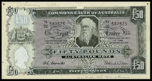 An Australian Fifty Pound Note (Obverse)