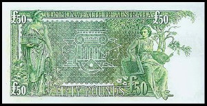 An Australian Fifty Pound Note (Reverse)