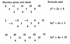 A page from W W Sawyer's Book, A Search for Pattern, showing tables of values analysed using the differencing technique