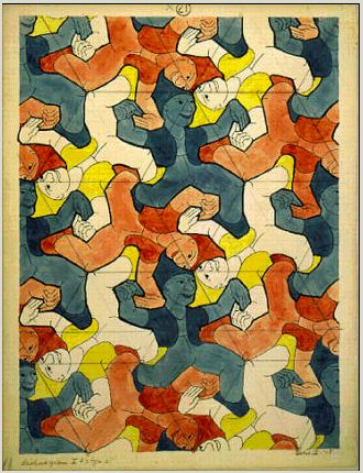 Image of Maurits Escher's Clowns, a sheet full of images of a clown tessellated in three orientatioons