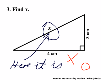 A cartoon about finding x drawn by Wade Clarke in 2005. It shows a right angled triangle with short sides 3 and 4 cm each and the hypotenuse marked x. The question says find x. Someone has circled the x and written, Here it is!