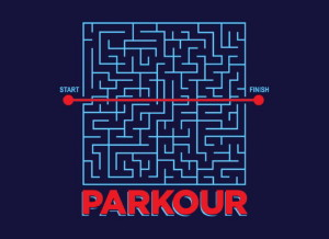 Picture of a Maze with a line drawn directly from one side to the other with the word Parkour written underneath