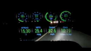 A screen grab from a YouTube video showing a Heads Up Display in a travelling car