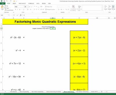 Screen capture of Excel Workbook for Developing Factorising Quadratic Skills