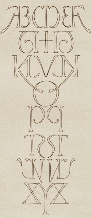 One of Scott Kim's Ambigrams showing the entire English alphabet written in symmetrical groups of letters